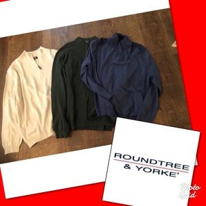 Lot of 3 round tree & York sweaters xl